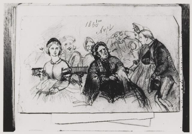 076916 - Tekening. Getekende portretten door Mr. de Balbian Verster (1830-1915). 26e jaargang 1975 Jaar: 1860
