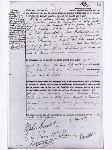 007367 - Huwelijksakte van het huwelijk met Ella Gwendolin Rees Williams in 1919.  Ed(ouard) de Nève is het pseudoniem van Willem Johan Marie ('Jean') Lenglet, die op 7 juni 1889 te Tilburg werd geboren als zoon van de uit Arnhem afkomstige Jean Emanuel Alexander Gustave Lenglet (1855-1901) en de Tilburgse Johanna Petronella Nooteboom (1861-?; verwant aan de schrijver Cees Nooteboom).