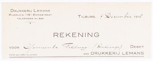 060565 - Briefhoofd. Nota van Drukkerij Lemans, Piusplein-19-Emmastraatvoor de gemeente Tilburg