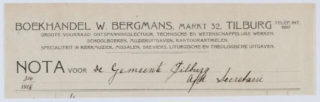 059579 - Briefhoofd. Rekening van Drukkerij W. Bergmans voor de gemeente Tilburg