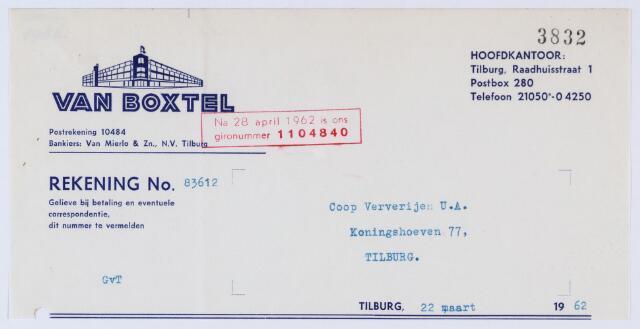 059691 - Briefhoofd. Nota van  van Boxtel N.V., Raadhuisstraat 1, voor Coöp. Ververijen, Koningshoeven 275, later 77