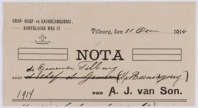 061142 - Briefhoofd. Nota van A.J. van Son, grof- hoef- en kachelsmederij, Korvelsche weg 57 voor de gemeente Tilburg