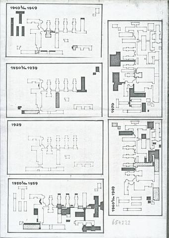 654222 - Elisabethziekenhuis. Gezondheidszorg. Bouw en verbouw van het St. Elisabeth ziekenhuis vanaf 1929 tot 1970.
