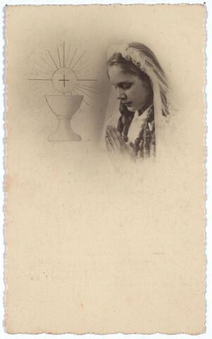 003929 - Bidprentje. Herinneringsprentje aan de Plechtige H. Communie van ELLY de COCK, op 1e Pinksterdag, 16 mei 1948, in de parochiekerk van 't Heike.