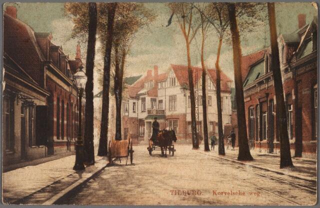 010278 - Korvelseweg bij het Korvelplein. Achter de voerman met paard en kar de villa van de familie Rudolf Diepen-Sträter.