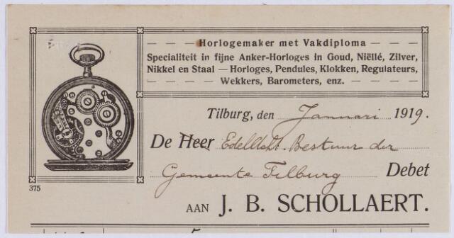 061050 - Briefhoofd. Nota van J.B. Schollaert, horlogemaker met vakdiploma, voor de gemeente Tilburg