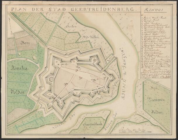 651026 - Plattegrond van de stad en de vestingwerken van Geertruidenberg met omliggend gebied. Plan der stad Geertruidenberg rechts een renvoi met verklaring der 30 cijfers. 1803. Gekleurde pentekening. Plan gekopieerd verbeterd en op de helft verkleind naar de in 1757 getekende kaart van J. Gijben. Uit sted. Oudheidkamer. 25,5 x 32,5 cm.