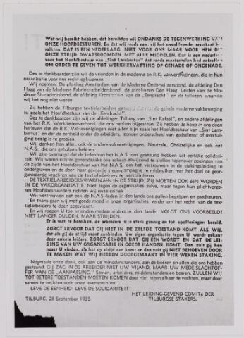 040869 - Vakbeweging. Textielstaking 1935. Pamfletten, Annonces, mededelingen in de Fakkel het orgaan van het nationaal arbeidssecretariaat, de textielarbeidersbond, de vereniging van Textielfabriekanten, inzake de staking van textielarbeiders op 13 september 1935.