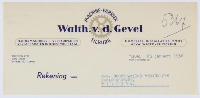 060146 - Briefhoofd. Nota van Machine-fabriek Walth. v.d. Gevel, Goirke Kanaaldijk 26 voor N.V. Coöperatieve ververijen Koningshoeven