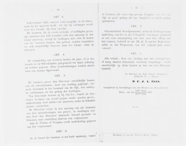 051659 - Onderwijs.  Rijks H.B.S. Willem ll . Huishoudelijke Reglement van de Rijks Hoogere Burgerschool H.B.S. Willem II schooljaar 1867/1868.