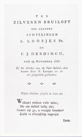008456 - Kaart. Uitnodiging en/of programma bij de zilveren bruiloft van het echtpaar A. Loosjes te Haarlem. De dichter van het lied, op de wijze van Oublions jusqu'a la trace etc., was Adriaan van der WILLIGEN (1766-1841). Zie ook fotonr. 8442
