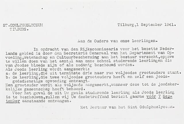 013912 - Odulphus. Tweede Wereldoorlog. Joden. Brief van het bestuur van het Odulphuslyceum aan de ouders van hun leerlingen waarin wordt gevraagd om op te geven of hun kind eventueel van Joodse bloede is.