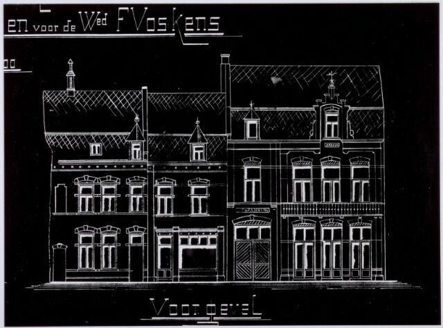 021298 - Tekening. Blauwdruk uit 1909 voor een café met woonhuizen aan de Korte Heuvel voor de weduwe F. Voskens. Architect was J. H. van de Abeelen.