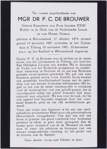 006666 - Bidprentje. Bidprentje ter nagedachtenis van mgr.dr. P.C. de Brouwer, (1874-1961).