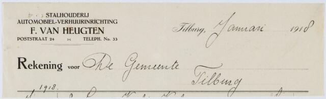 060276 - Briefhoofd. Nota van Stalhouderij F van Heugten, Poststraat 24 voor de gemeente Tilburg