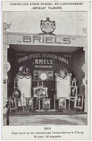 003323 - Stand van de 'Koninklijke Stoom-, Spiegel- en Lijstenfabriek Briels' uit de Zomerstraat in Tilburg op de Internationale Tentoonstelling van Nijverheid, Handel en Kunst.
