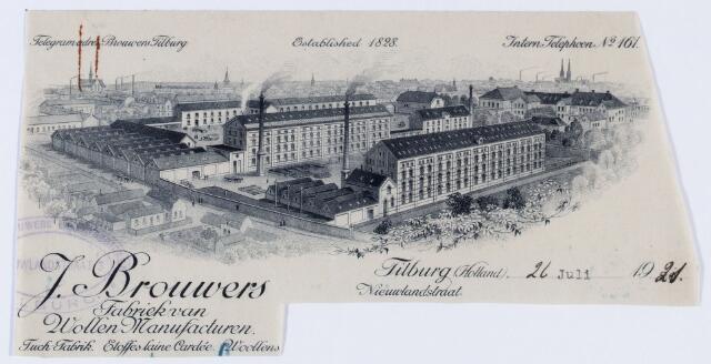 059779 - Briefhoofd. Briefhoofd van J. Brouwers, fabriek van Wollen Manufacturen, Nieuwlandstraat
