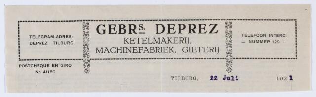 059905 - Briefhoofd. Briefhoofd van Gebrs. Deprez, Tilburgsche Stoomketel- en Machinefabriek