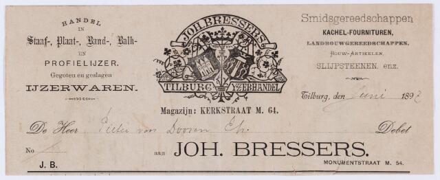 059728 - Briefhoofd. Nota van Joh. Bressers, IJzelhandel Tilburg, Monumentstraat M 54, voor Pieter van Doooren