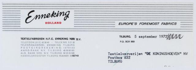 060040 - Briefhoofd. Nota voor Textielverv. De Koningshoeven N.V. , Koningshoeven 77 van  H.F.C. Enneking, fabrikanten van wollenstoffen, Goirkestraat 89