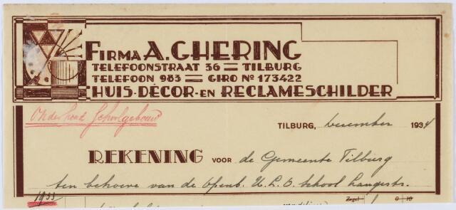 060150 - Briefhoofd. Nota van Firma A. Ghering, huis- en decoratieschilder, Telefoonstraat 36 voor de gemeente Tilburg