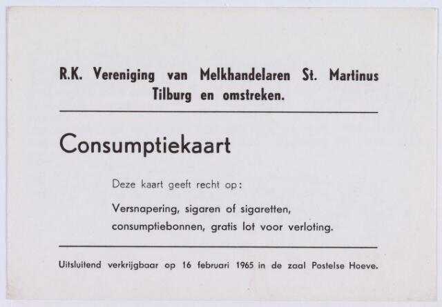 061494 - Briefhoofd. Consumptiekaart van de R.K. Vereniging van Melkhandelaren St. Martinus Tilburg en omstreken
