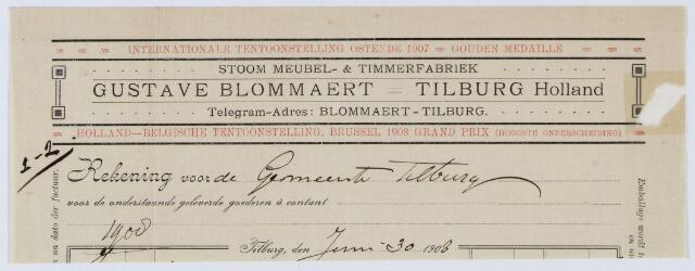 059646 - Briefhoofd. Nota van Stoom Meubel- & Timmerfabriek Gustave Blommaert - Tilburg Holland voor de gemeente Tilburg