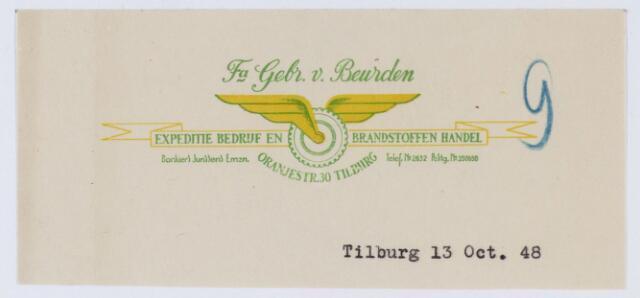 059617 - Briefhoofd. Briefhoofd van Fa. Gebr. v. Beurden, Expeditiebedrijf en Brandstoffen Handel, Oranjestraat 30
