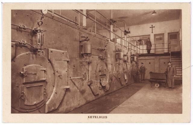 001274 - Elisabethziekenhuis. Gezondheidszorg. Ziekenhuizen. St. Elisabethziekenhuis aan de Jan van Beverwijckstraat, ketelhuis, hier werden de stoomketels gestookt voor de energievoorziening. Het bleek een ideale plek voor onderduikers in de Tweede W.O.
