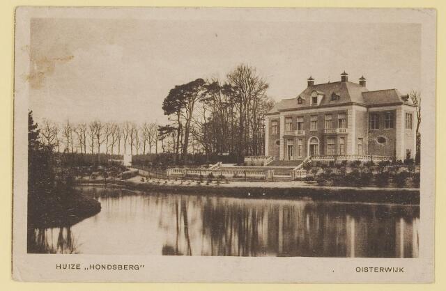 073933 - Hondsberselaan met Huize 'De Hondsberg'  een oude buitenplaats, met waterpartijen, bruggetje, kiosk, pension, restaurant, hotel en opvangtehuis voor slechtziende kinderen o.l.v. dr. Aussems.