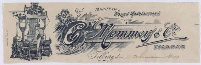 060758 - Briefhoofd. Textielindustrie. Briefhoofd van C. (Christiaan) Mommers & Cie, fabriek van wollen manufacturen.