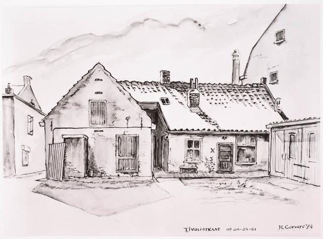 033355 - Tekening. Tekening van H. Corvers van de achterzijde van de panden aan de Tivolistraat 61 t/m 65, voor l januari 1969 Bosscheweg 411 t/m 415.