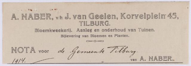 060807 - Briefhoofd. Nota van A. Naber, v/h J. van Geelen, Korvelplein 45, bloemkwekerij en aanleg en onderhoud van tuinen voor de gemeente Tilburg