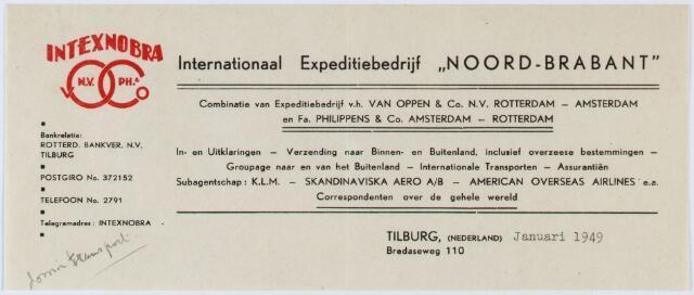 """060350 - Briefhoofd. Briefhoofd van Intexnobra Internationaal Expeditiebedrijf """"Noord-Brabant"""" Bredaseweg 110"""
