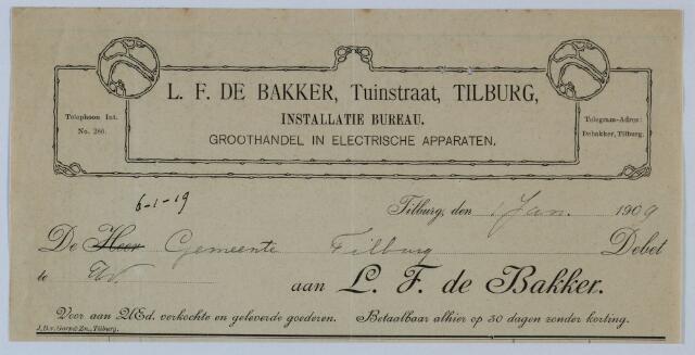 059529 - Briefhoofd. Rekening van L.F. de Bakker, Tuinstraat, Tilburg Installatie bureau, Groothandel in electrische apparaten, aan de gemeente Tilburg