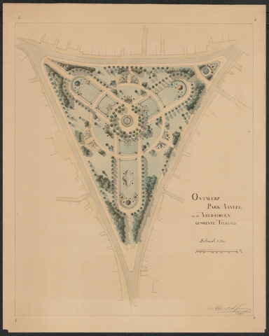652567 - Ontwerp park aan de Veldhoven (Wilhelminapark), Ontwerp 2, ingekleurd. Tekening van Leonard Springer. Tek. 4/3/1897.
