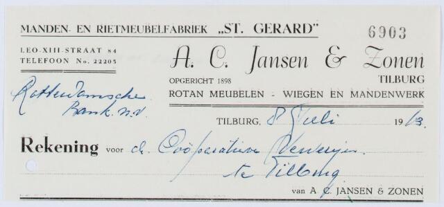 """060355 - Briefhoofd. Nota van A.C. Jansen & Zonen, Manden en Rietmeubelfabriek """"St. Gerard"""" , Leo-XII-straat 84, voor Coöperatieve Ververijen te Tilburg"""
