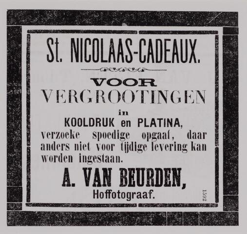 040174 - Advertentie in de Tilburgsche Courant van fotograaf A. van Beurden