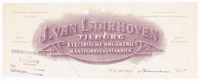 060543 - Briefhoofd. Briefhoofd van J van Laarhoven, Electrische drukkerij, kantoorboekenfabriek, boekbinderij en papierhandel, Wilhelminapark 7