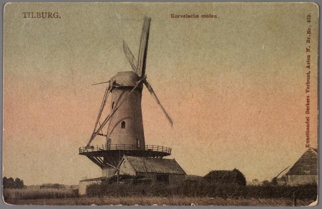 011269 - De zogenaamde Korvelse molen stond aan de Capucijnenstraat.  Bij de openbare verkoop in 1904 werd hij omschreven als 'een ruime sterk gebouwde, in en uitwendig in goeden staat zijnde windgraanmolen, gemerkt B374, waarin drie koppel maalstenen met goed molenaarshuis gemerkt B373'. 1904-1907 eigendom van molenaar Peter Francis Janssens.  Na Janssens werd de molen gehuurd en bemalen door de gebroeders Josephus en Chrales Majoie. In 1929 werd de molen ontmanteld,