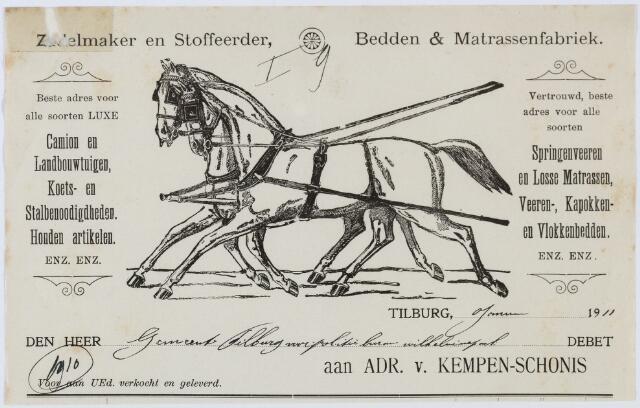 060431 - Briefhoofd. Nota van Zadelmaker en stoffeerder Adr. v. Kempen-Schonis voor gemeente Tilburg voor politiebureau Wilhelminapark