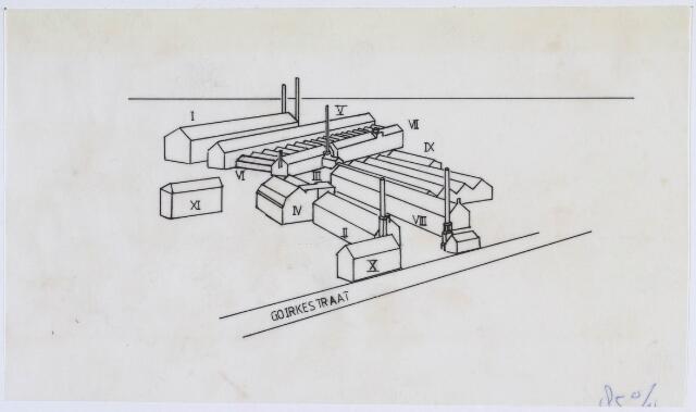 019346 - Textielindustrie. Plattegrond van het complex van wollenstoffenfabriek Herman Eras aan de Goirkestraat. Het bedrijf bestond tot 1958, toen het werd overgenomen door W. Schoenmakers & Zn