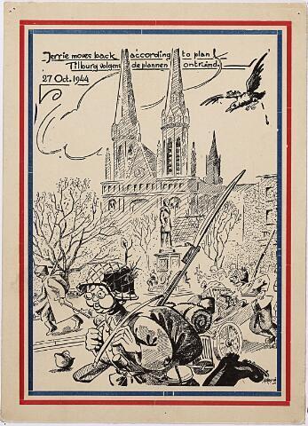 013168 - Tweede Wereldoorlog. Terugtocht. Spotprent van vluchtende Duitsers op de Heuvel. Let vooral op de vogel rechtsboven!