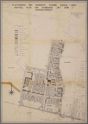 059443 - Kaart. Stadsuitbreiding. Bestemmingsplan. Het Zand I,  1957, overzichtskaart