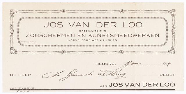 060595 - Briefhoofd. Nota van Jos van der Loo, fabriek van kunstsmeedwerken, Haringseind, voor de gemeente Tilburg