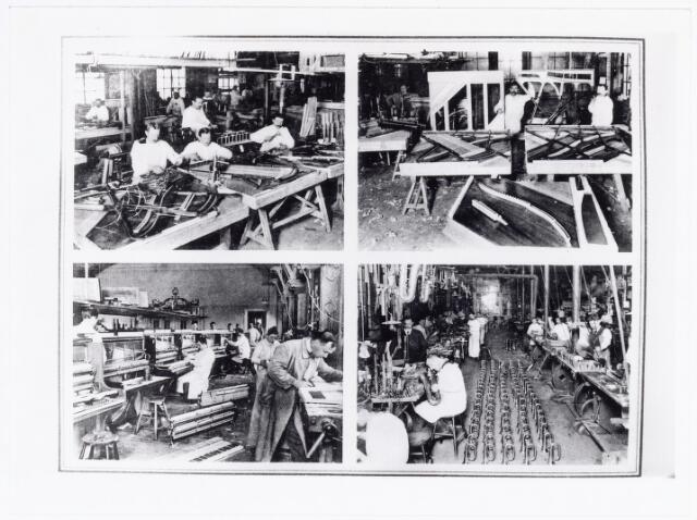 038348 - Interieur van de M.J.H. Kessels, Koninklijke Nederlandsche Fabriek van Muziekinstrumenten, pianoafdeling en afdeling blaasinstrumenten