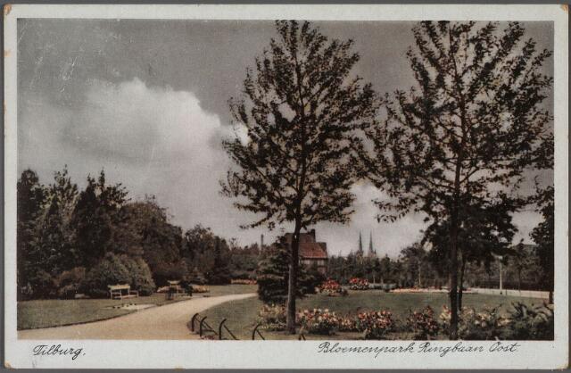 011104 - Elisabethziekenhuis. Parkje aan de Gerard van Swietenstraat. hoek Ringbaan-Oost. Rechts, verscholen achter de bomen het St. Elisabeth Ziekenhuis.