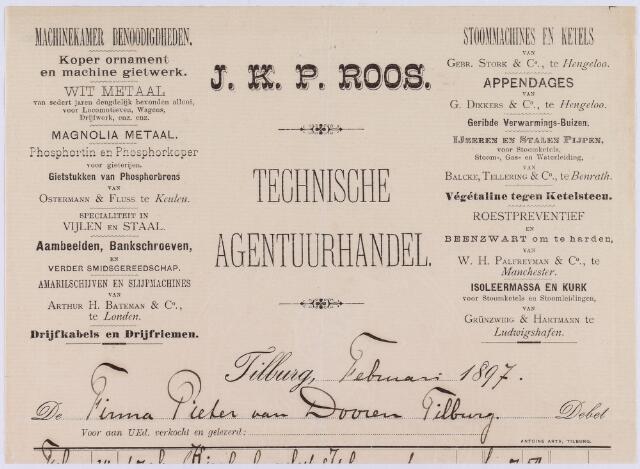 061005 - Briefhoofd. Nota van J.K.P. Roos, technische agentuurhandel voor Firma Pieter van Doorn te Tilburg