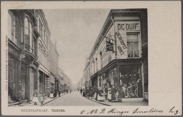011351 - Heuvelstraat richting Zomerstraat ter hoogte van de Willem II-straat. Rechts magazijn 'de Duif'  van August Lemmens.