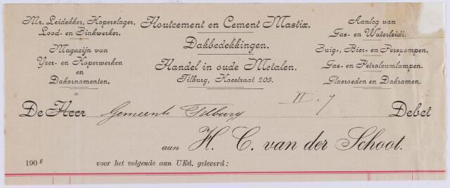 061073 - Briefhoofd. Nota van H. C. van der Schoot, mr. leidekker, Koestraat 203 voor de gemeente Tilburg